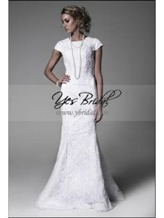Empire High-neck Brush Train Satin Lace Wedding Dress WEM0077 $190