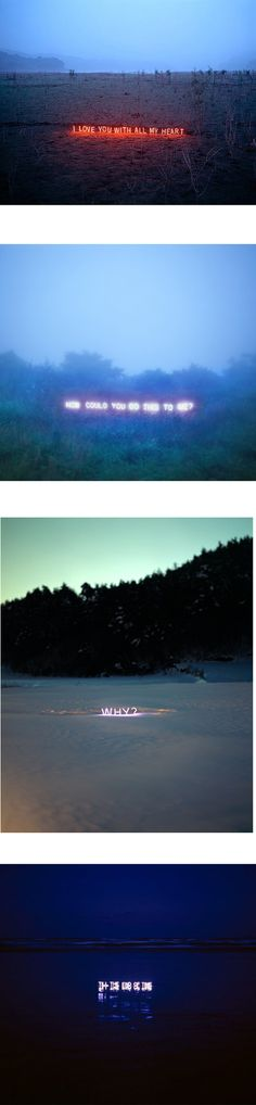 glowing text installations by artist lee jung