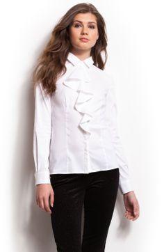 Svenja Ledger in Armani-white-ruffle-blouse