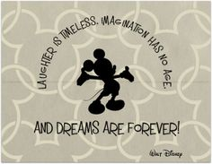 Mickey Mouse, LAUGHTER IS TIMELESS, IMAGINATION HAS NO AGE, AND DREAMS ARE FOREVER. Walt Disney quote, art, print, nursery decor, pink, blue, brown, kids art, children, dreams, girl, boy, by BeckyMcCreary, $25.00