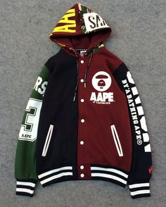 AAPE BATHING APE UNIVERSE 93 RETRO CARDIGAN MULTICOLORED HOODIE SWEATER JACKET    $75