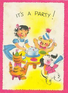 Vintage birthday party card
