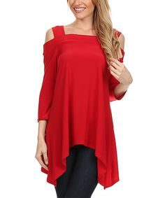 This Red Off-Shoulder Sidetail Tunic - Women is perfect!  With a fresh hue, off-shoulder design and a flattering sidetail silhouette, this contemporary top is the essence of easy, breezy style.   Size S: 35'' long from high point of shoulder to hem 95% polyester / 5% spandex Made in the USA sexy flowing red green blue black navy colors available blouse shirt top gypsy peasant boho vegan cruelty free