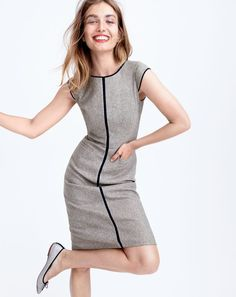 J.Crew women's cap-sleeve dress in piped Donegal and Gemma glitter flats.