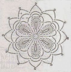 Anabelia craft design: Crochet doilies and lace motifs - motif 3 Mandala Au Crochet, Crochet Snowflake Pattern, Crochet Motif Patterns, Crochet Snowflakes, Crochet Diagram, Crochet Chart, Thread Crochet, Filet Crochet, Crochet Doilies