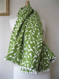 Wrap with Pom Pom Fringe  Spring Green with White by SewEcological