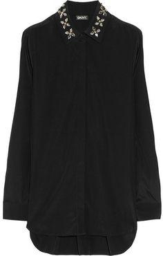 DKNY Embellished-collar silk-blend blouse on shopstyle.com