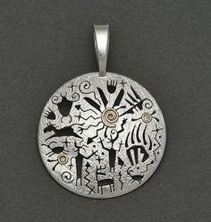 Silver & 14K Pendant by Myron Panteah (Zuni)
