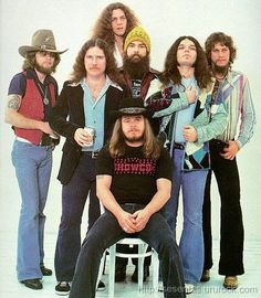 Pinner writes: Arguably the greatest Southern Rock band of all time. Of the original line-up, only Gary Rossington (second from right) remains alive and with the group, which is still performing at the time of this post (Sep, Lynyrd Skynyrd, Gary Rossington, Allen Collins, Hard Rock, Blues Rock, I Love Music, Music Is Life, Playlists, Neil Young