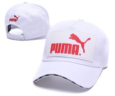 Men s   Women s Puma The Logo Rubber Patch Stitched Curved Dad Cap - White    Red 2bc7755eda7d