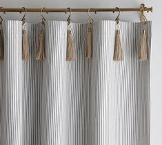 Pottery Barn The Emily & Meritt Ticking Stripe Drape with Hook and Tassel, Black/White - Curtains & Drapes - Pattern Style Tassel Curtains, Striped Curtains, Printed Curtains, Sheer Drapes, Blackout Curtains, Drapes Curtains, Curtains With Hooks, Curtains Living, Home Decor Ideas