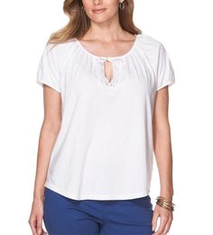Peasant Tee 3X CHAPS Lace Keyhole White Top Women's Plus Size NWT #Chaps #KnitTop #Casual