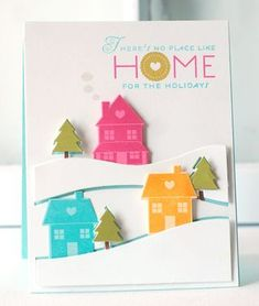 Bright Holiday Home Card by Betsy Veldman for Papertrey Ink (September 2013)