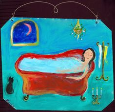 "Mexican Folk Art Paintings-Original Artwork Direct From The Artist-RoMy-Terlingua Art Studio: ""At the End of the Day""-Mexican Folk Art-Painting-Paintings-RoMy-Original Artwork-Bath-Tub-Senorita-Cat-Moon-Stars-Collectible-"