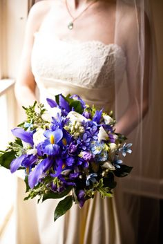 Purple iris wedding bouquet.  Photo by Heather Z Photography (http://www.heatherzphotography.com)