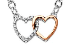 A fun, fashion-forward piece will spruce up any look. This stylish necklace features two linked hearts crafted from shining sterling silver and blushing 10K rose gold, peppered with an array of brilliant diamond accents. Item is featured with an 18 inch sterling silver chain.