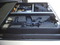 Weapons sliding safe installed in Chevy Tahoe