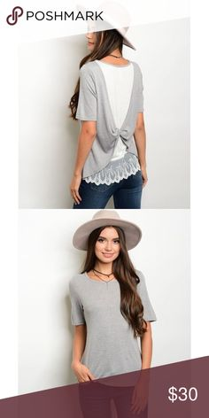🆕 Lace Detailed Top Short sleeve twist detail back with chiffon and lace trim detail. 87% polyester 9% rayon 4% spandex. Tops