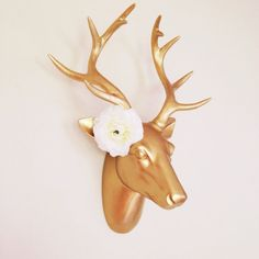 Gold Faux Deer Head, Gold Stag, Antlers, Jewelry Rack, Floral Antlers, Jewelry Holder/Display, Deer Wall Decor, Coat Hook, Stag Art