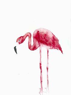 Flamingo original watercolor painting  wild tropical bird #EtsyEurope #teamsuccest #France