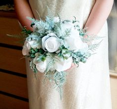 White fabric roses dusty miller frosted fern flowers wedding BOUQUET satin Handle, greenery bride, custom - pinned by pin4etsy.com
