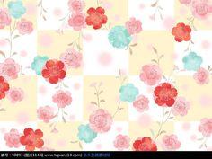可爱粉色系彩色花朵叶子底纹背景素材
