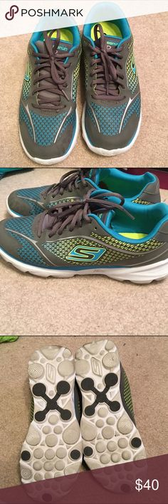 Skechers GoRun Pace Shoes size 8.5 Blue, green, yellow and grey base shoe. Worn once. Realized they were a bit too small for me. VERY COMFORTABLE. Still have box. Skechers Shoes Athletic Shoes