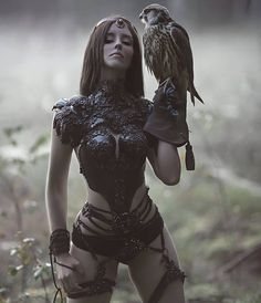 come to mamamy designs by dear @agnieszka_lorek❤  muse @forest_spirit_art❤ #agnieszkaosipa #costume #corset #harness #stripes #jewellery #ornaments #embroidery #flowers #crystals #pearls #beads #black #forest #fantasy #falcon #fairytail #hips #sexy #darkness #slavic #bird