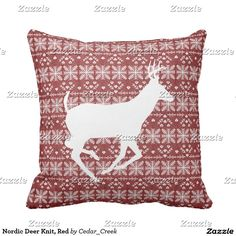 Nordic Deer Knit, Red Throw Pillow