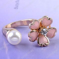 1PC Pink Resin Flower Crystal Faux Pearl Girl Party Finger Ring Korean Vogue