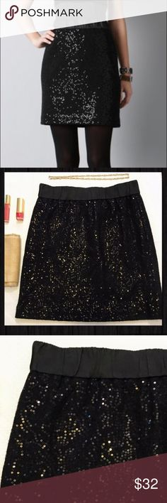 LOFT sequin black elastic waist skirt LOFT sequin black elastic waist skirt. Perfect for a holiday party, a night out, or NYE. No rips stains or tears except for the tag which is coming off (pictured). The sequins are sewn INTO the fabric so they won't catch on things or dig into your legs LOFT Skirts