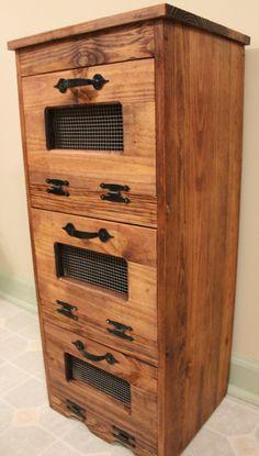 TRANSPORTE LIVRE Potato Bin madeira de armazenamento Rustic por dlightfuldesigns