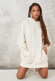 Ivory Missguided Oversized Hooded Sweater Dress | Missguided