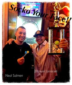 "I don't always win but when I do I make sure to post it on IG ! Beat Neal in Darts ! round one of many more to come ! Have a safe Friday night !  photo cred is @ericburdick --/ and remember I'm the original creator of ""Socko Your Face""  do it all night !  #winner #entrepreneur #sockoyourface #doseenergy #colitis #ccfa #crohns #fuckcancer #friends #international #lifestyle #brands #beyourself by realmikej"