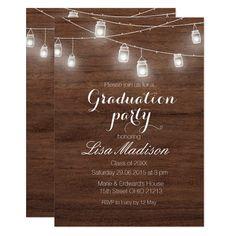 rustic wood invitation wood and gold photo invitation modern invitation PRINTABLE Custom Graduation Invitation