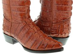 Mens cognac brown crocodile alligator cowboy leather boots full Jtoe Tail Cut