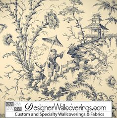 Asian Pagoda Toile Wallpaper  [PAL-42041] W Collection Screen Prints 1/13 | Color: Blue Black Cream White | DesignerWallcoverings.com | Luxury Wallpaper | @DW_LosAngeles | #Custom #Wallpaper #Wallcovering #Interiors