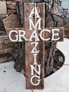 "Barn wood ""Amazing Grace"" cross"