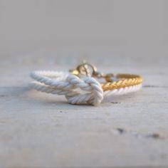 Bracelet white cord Infinity bracelet marine knot jewelry - MANEGE