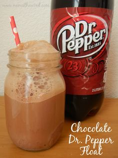 Chocolate Dr. Pepper Float - At first look this may seem like an ordinary float.  But what you don't know is that the chocolate ice cream (or any chocolate really) changes the flavor of Dr. Pepper into a bolder taste.  It is by far my favorite flavor combo and I am un able to drink a Dr. Pepper without some form of chocolate as well.