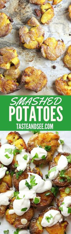 Smashed Potatoes - Yellow baby potatoes finished with sour cream and scallions. Tasty and totally different!