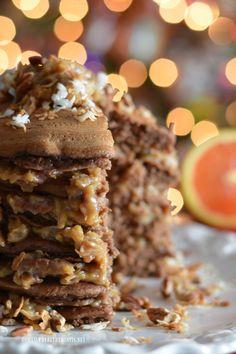 German Chocolate Pancakes from cake mix! | homeiswheretheboatis.net #Christmas #novelbakers #brunch #recipe