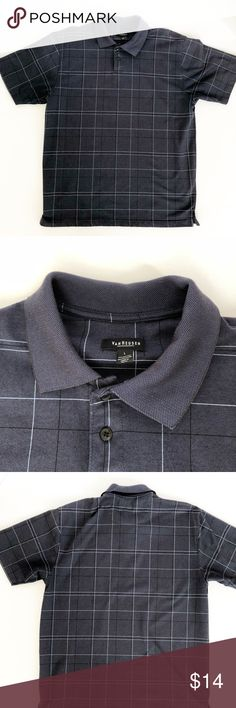 Men's Van Heusen Polo Shirt Sz Large Navy window pane pattern fabric Nice heavier weight feel 55 cotton/45 polyester Washes very well Excellent like new condition Smoke/Pet Free Freshly washed 102331 Van Heusen Shirts Polos