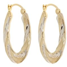 14K Yellow Gold and Sterling Silver Bonded Two Tone Twist Hoops  Select Jewelry™ 14K Yellow Gold and Sterling Silver Bonded Two Tone Twist Hoops       Please report any items that arrive damaged within 72 hours.          UNWORN can be returned within 30 days