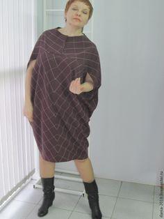 """Купить платье -сарафан """"КЛЕТКА"""" - бордовый, в клеточку, большой размер, платье в клетку, платье, повседневное платье"""