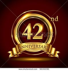 42nd golden anniversary logo, forty two years birthday celebration with gold ring and golden ribbon.