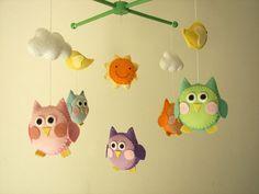 Baby crib mobile owl mobile felt mobile crib mobile by Feltnjoy, $95.00
