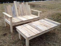 Ensemble Table Basse Banc Palette Bois Fabriquer Soi