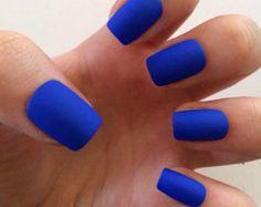 Items similar to Blue and gold anchors nail art press on nails ...