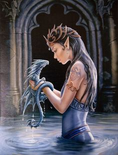 WATER DRAGON Wall Plaque Art Print Anne Stokes Elf Faery Maiden with Dragon Art